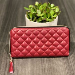 The Mollie Quilted Wallet in RED